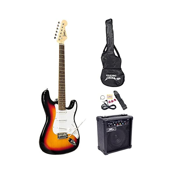 PylePro Full Size Electric Guitar Package w/Amp, Case & Accessories, Electric Guitar Bundle, Beginner Starter Package, Strap, Tuner, Pick, Ready to Use Out of the Box, Sunburst (PEGKT15SB) 51pUOFsWdlL