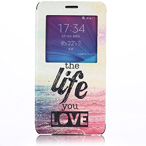Note 4 Case, Galaxy Note 4 Case, Dteck(TM) Fashion Cartoon Design Premium Leather [Window View] Flip Stand Case Folio Cover for Samsung Galaxy Note 4 IV N9100 with Free Gifts Screen Protector & Random Color Stylus Pen & Dteck Brand Cleaning Cloth (#02 The Life You Love)