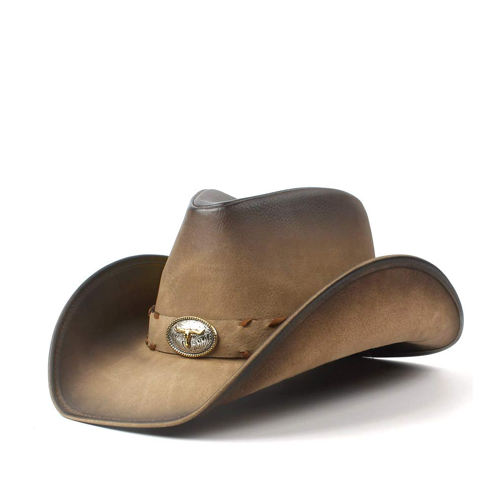 Unisex Retro Leather Men Cowboy Hat for Men Women Western Dad Jazz Hat with Bull Head Cowgirl Sombrero Caps LL Cap (Color : Natural, Size : 58-59cm)