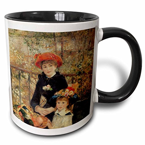3D Rose 169789_4 On the On the Terrace, 1879 by PierreAuguste Renoir Two Tone Ceramic Mug 11 oz - Terrace Rose
