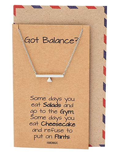 Quan Jewelry Handmade Simple Balance Pendant Necklace, Gifts for Girls, Necklaces for Women, Life Inspirational Quote with Greeting ()