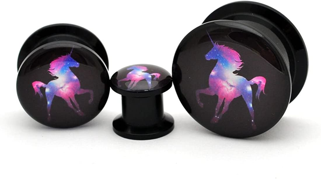 Sold as a Pair Mystic Metals Body Jewelry Black Acrylic Galaxy Unicorn Picture Plugs