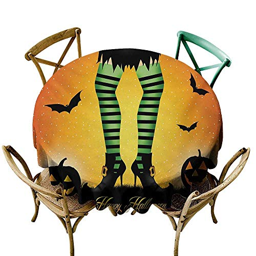 100% Polyester Round Tablecloth 36 inch Halloween,Cartoon Witch Legs with Striped Leggings Western Concept Bats and Pumpkins Print,Multicolor 100% Polyester Spillproof Tablecloths