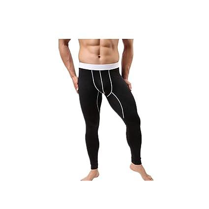 30e3c085da8 Dreamyth Men s Sport Baselayer Underwear Warm Cotton Long Legging Pants  Thermal Trousers (Black