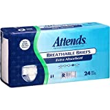 Attends Breathable Briefs with Odor Shield for Adult Incontinence Care, Regular, Unisex ,  24 Count (Pack of 3)