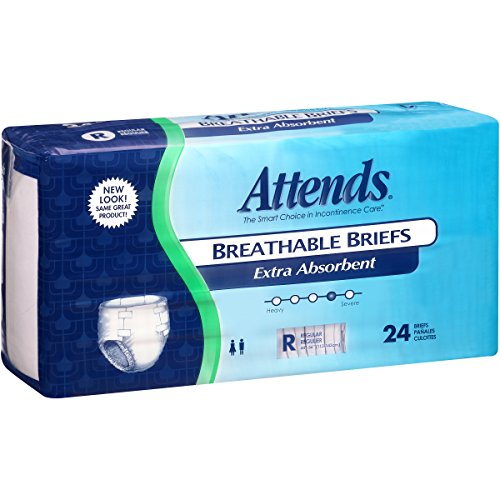 Attends Breathable Briefs with Odor Shield for Adult Incontinence Care, Regular, Unisex, 24 Count (Pack of 3)