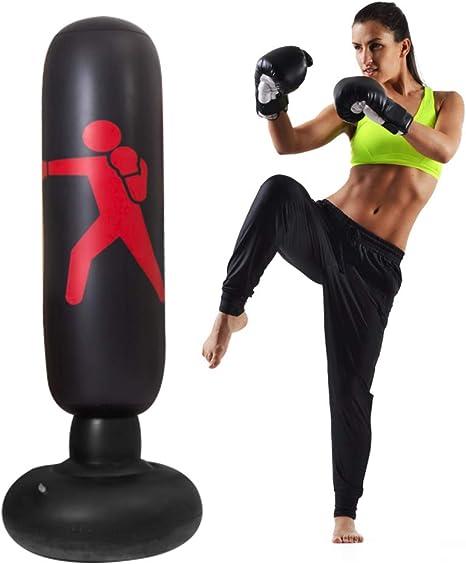 Coolcycling 3Pcs//Set Children Fitness Punching Bag Air Inflator Pump /&1 Pair Kids Punching Gloves Freestanding Inflatable Punching Tower Bag De-Stress Boxing Target Bag 63 Tall