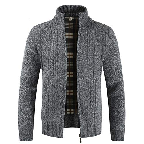 COOFANDY Mens Cardigans Knitted Full Front Zipper Stand Collar Cardigan Jumpers with Pocket