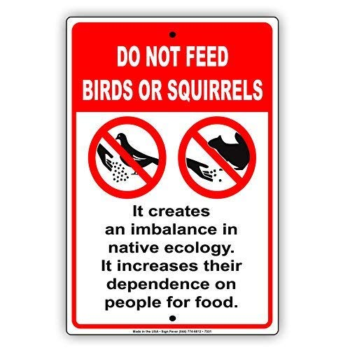 - WenNuNa Do Not Feed Birds Or Squirrels It Creates Imbalance in Ecology Increases Dependency Notice Aluminium Metal 8x12 inch Sign Plate