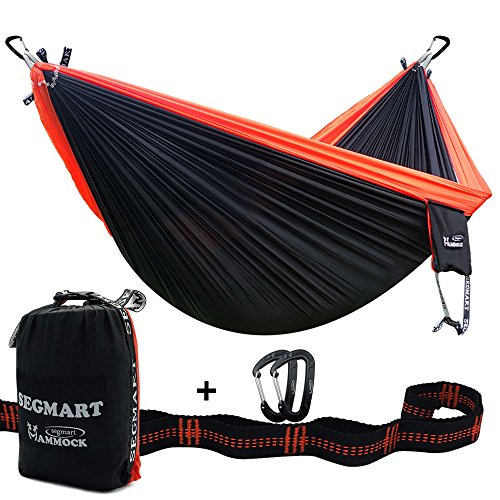 SEGMART Double XL Hammocks with Hammock Straps & Carabiners - Black/Orange