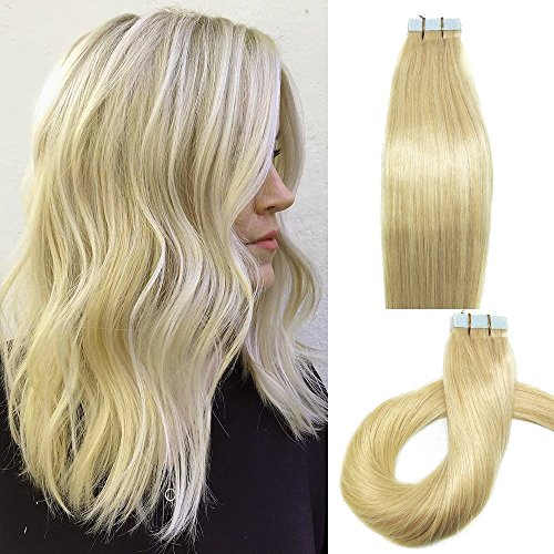 Myfashionhair Tape In Human Hair Extensions 16inches platinum blonde 20pcs 30g Set Silky Straight Skin Weft real human remy hair pieces(16 inches, #613)…