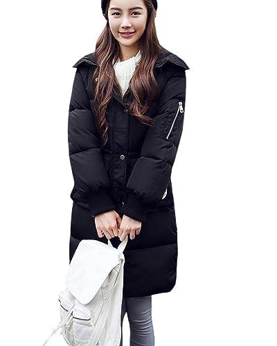 SaiDeng Espesar Suelto Cálido Chaqueta Abrigo De Pluma De Invierno Con Capucha Para Mujer Negro XL