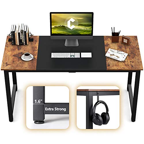 """CubiCubi Computer Office Desk 63"""", Study Writing Table, Modern Simple Style PC Desk with Splice Board, Black and Rustic Brown"""