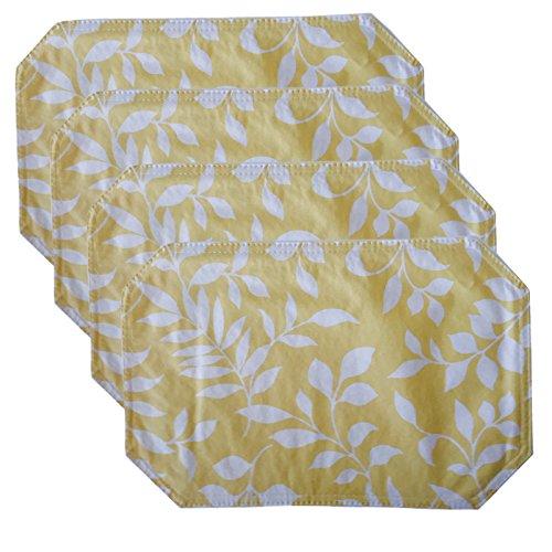 Tonal Leaf Pattern Vinyl Reversible Placemat Set - Set of 4, Yellow