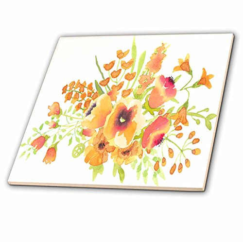 3dRose Vintage Style Floral - Image of Vintage Style Pink and Peach Watercolor Floral - 4 Inch Ceramic Tile (ct_279875_1) from 3dRose