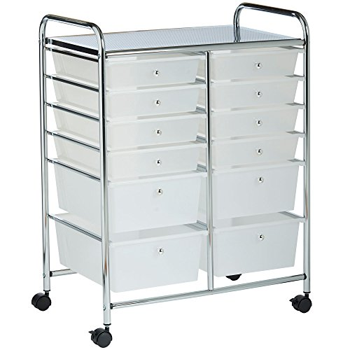 VonHaus White 12 Drawer Organizer Cart with Rolling Wheels Multi-Purpose Utility Cart for Home, Office, Art, Crafts and Beauty Storage