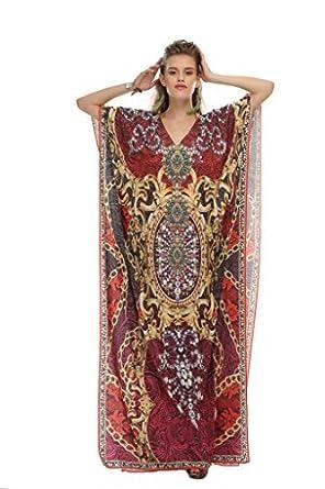 b4be748c2d D G PRINTS FAB Women's Turkish Kaftan Beach wear Swimwear Bikini Cover ups  Beach Dress at Amazon Women's Clothing store: