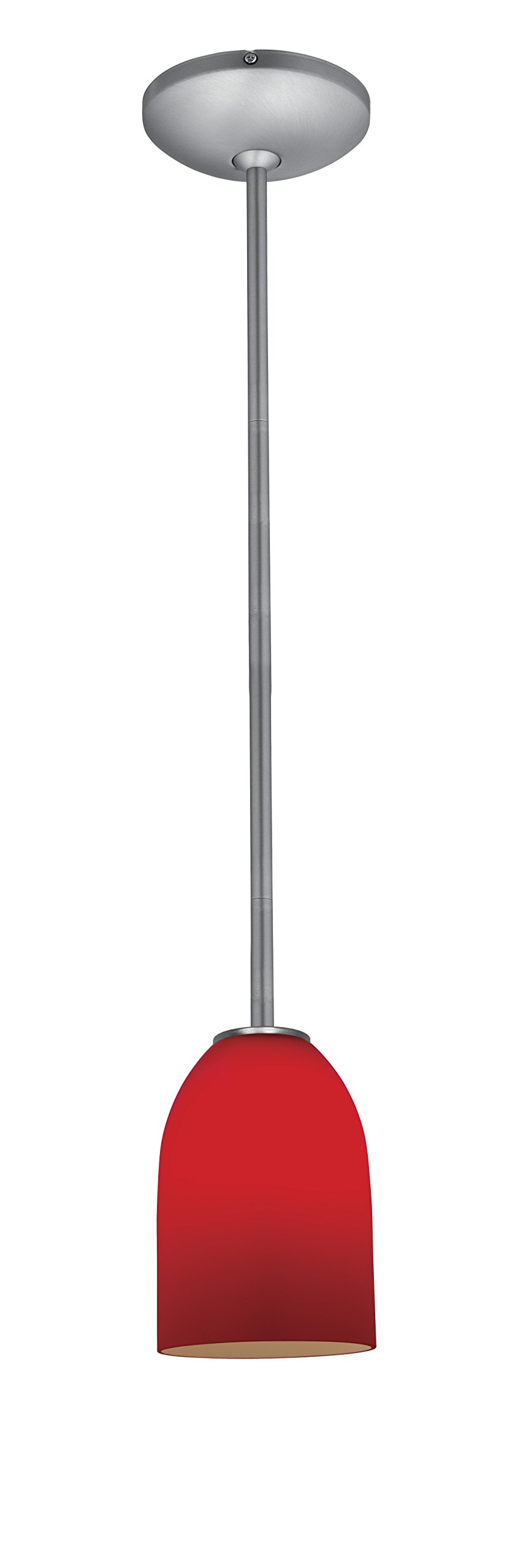 Champagne Glass Pendant - 1-Light Pendant - Rods - Brushed Steel Finish - Red Glass Shade