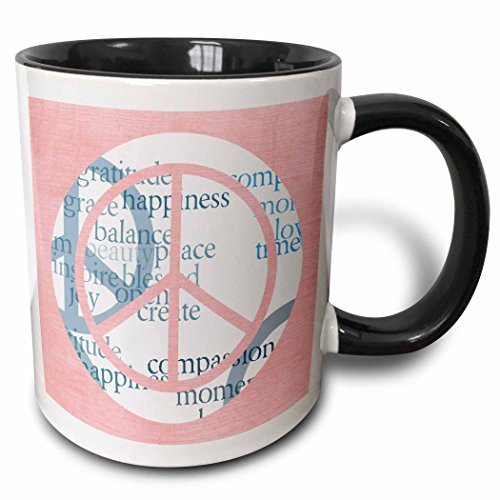 3dRose PS Inspirations - Inspired words peace sign - 15oz Two-Tone Black Mug (mug_110445_9)