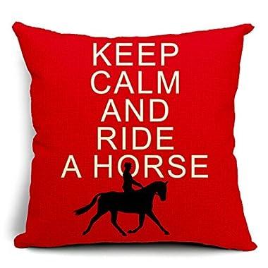 Keep Calm and Ride a Horse Cotton Linen Throw Pillow Case Cushion Cover Home Sofa Decorative 18 X 18 Inch