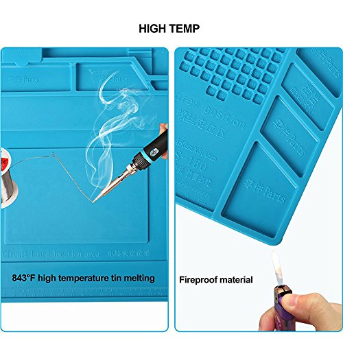 Magnetic Heat Insulation Silicone Mat Repair Kit,Heat-resistant Soldering Mat Silicone Heat Gun BGA Soldering Station Insulation Pad Repair Tools for Mobile Phone and Computer Repair (17.7''11.8'') by Weststar (Image #5)