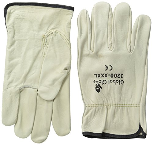 Global Glove 3200 Cow Grain Leather Premium Grade Driver Glove, Work, 3X-Large, white and black overcast(Case of 72) ()