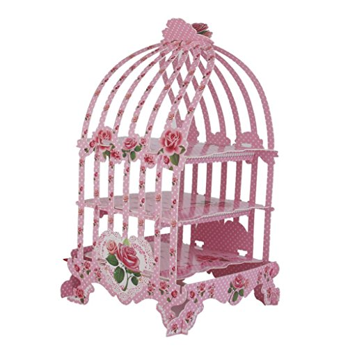 JKLcom Birdcage 3 tier pastry cupcake stand for a Wedding or Tea Party, Wedding-1Pcs (RED)