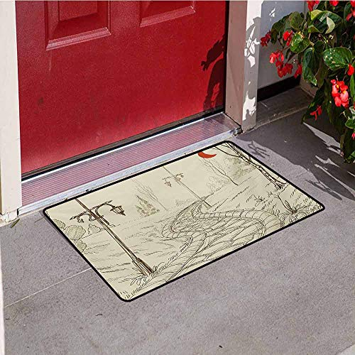 - Jinguizi Lantern Welcome Door mat Park Alley with Stone Road and Lanterns at Night in Illuminated Areas Artsy Sketch Door mat is odorless and Durable W35.4 x L47.2 Inch Beige Red