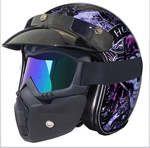 Street Legal Leather (AA100 Retro Helmet Harley Motorcycle Helmet Motorcycle Open face Half Helmet PU Leather Goggles DOT Certification Approved Men and Women Open face,M57~58)