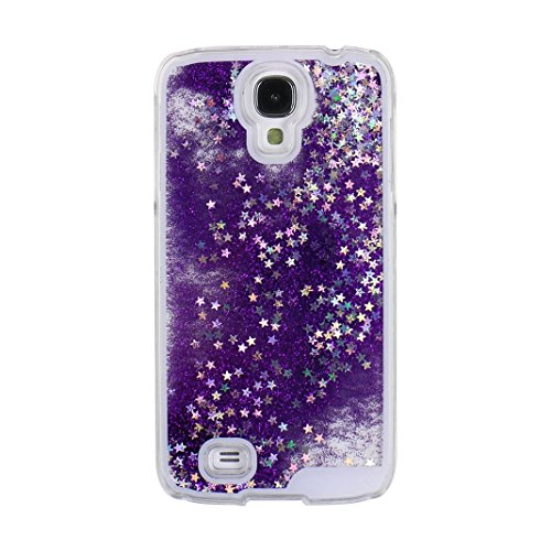 Galaxy S4 Case, Moon mood Samsung S4 Liquid Cover Transparent 3D Glitter Bling Star Flowing Liquid Quicksand Crystal Protector Back Case Skin Shell Cover for Samsung Galaxy S4 SIV I9500 (Purple)