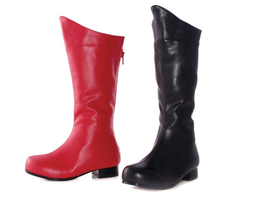 1 Inch Heel Superhero Ankle Boot Children's (Red Pu;X-Small)