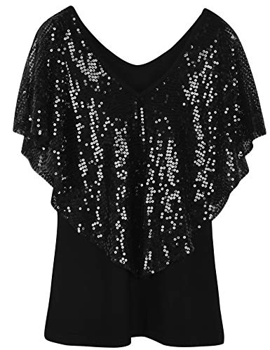 Sequin Tunic Blouse - PrettyGuide Women's Sequin Party Dressy Top Glitter Short Sleeve Slim Classic Shirt Blouse L Black
