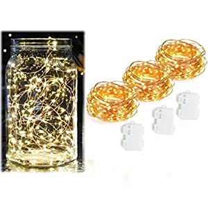 3 Pack Fairy Lights Battery Operated Warm White Outdoor String Lights 20 Feet 60 LEDs Little Light For Patio, Wedding, Water Resistant, Suitable for Indoor and Outdoor Use