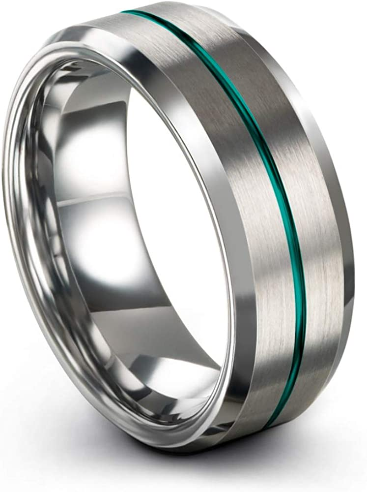 Chroma Color Collection Tungsten Carbide Wedding Band Ring 8mm for Men Women with Green Red Fuchsia Copper Teal Blue Purple Black Grey Center Line and Step Bevel Edge Black Grey Brushed Polished