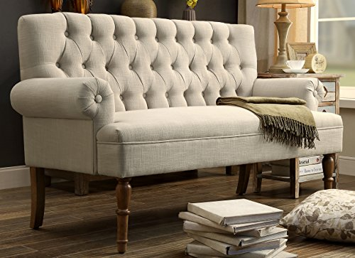 Rosevera C7-1 Hermosa Tufted Button Upholstered Loveseat, Beige