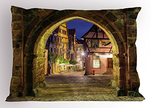 Cityscape Pillow Sham by Lunarable, Riquewihr Alsace View France through City Wall Gate at Night Historical Town Picture, Decorative Standard King Size Printed Pillowcase, 36 X 20 Inches, (Alsace Wall)