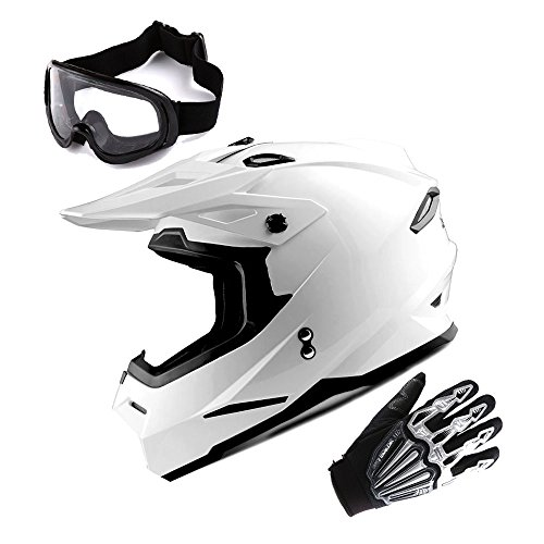 1Storm Adult Motocross Helmet BMX MX ATV Dirt Bike Helmet Racing Style Glossy White; + Goggles + Skeleton Black Glove Bundle