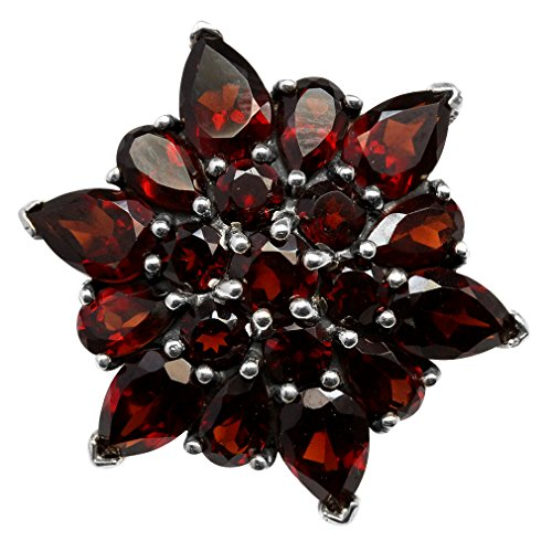 5.67ct. Natural Garnet 925 Sterling Silver Flower Cluster Cocktail Right-Hand Ring Size 8 ()