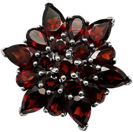 5.67ct. Natural Garnet 925 Sterling Silver Flower Cluster Cocktail Right-Hand Ring