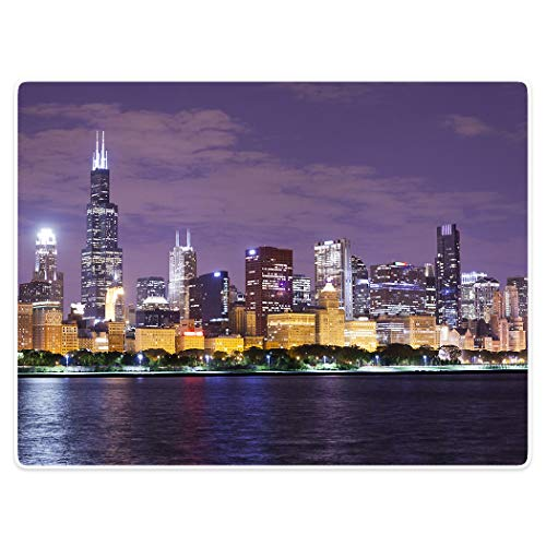 (YISUMEI 40x50 Blanket Comfort Warmth Soft Plush Throw for Couch Chicago Skyline Cityscape Illinois Nightime )