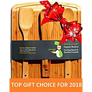 Bamboo Cutting Board & Cheese Board Housewarming Gifts Set - Best for Mothers Day Gift, Wedding Gift, Personalized Gifts & Bridal Shower Gift Idea - Meat Board & Serving Tray Platter -3 BONUS Utensils