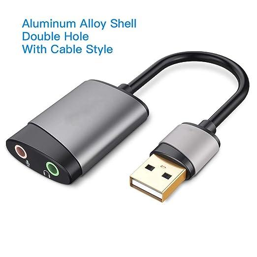 OPmeA Tarjeta de Sonido Adaptador USB a Conector de 3,5 mm ...