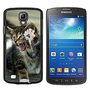 Gatito feroz gato de la pata del león del rugido- Metal de aluminio y de plástico duro Caja del teléfono - Negro - Samsung i9295 Galaxy S4 Active / i537 (NOT S4)