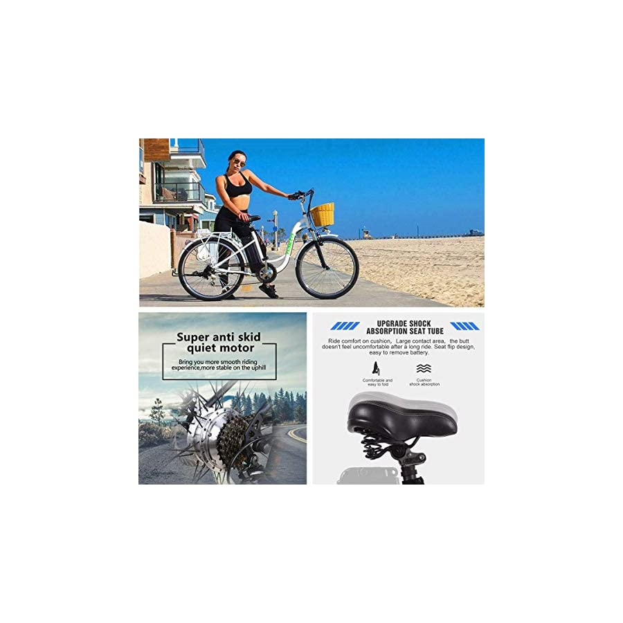 """NAKTO 26"""" City Adult Electric Bicycles and Assisted Bicycle for Men Woman with Removable 36V 10A Large Capacity Lithium Battery and Charger"""