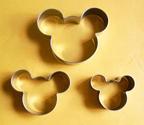 LAWMAN 3 Size Mickey Mouse Fondant Pastry Baking Biscuit Cookie Cutter Set (Mickey Mouse Cookie)