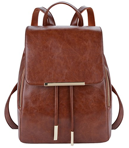 COOFIT Leather Backpack Purse Casual Daypack Backpacks for women Brown(Synthetic Leather) by COOFIT