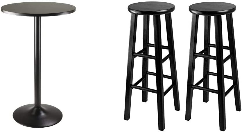 Winsome Obsidian Pub Table Round Black Mdf Top with Black Leg And Base - 23.7-Inch Top, 39.76-Inch Height & 29-Inch Square Leg Bar Stool, Black, Set of 2