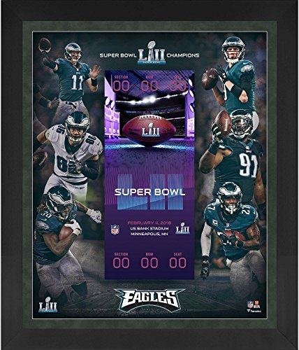"Sports Memorabilia Philadelphia Eagles Framed 23"" x 27"" 1st Time Super Bowl LII Champion Floating Ticket Collage - NFL Team Plaques and Collages from Sports Memorabilia"