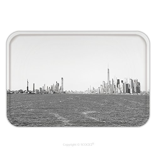 Flannel Microfiber Non-slip Rubber Backing Soft Absorbent Doormat Mat Rug Carpet Panoramic View Of New York City Taken From The Ferry To Staten Island 621032753 for Indoor/Outdoor/Bathroom/Kitchen/Wor (Deer Staten Island)