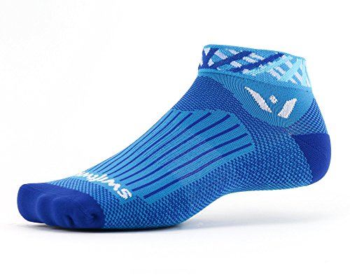Swiftwick- VISION ONE SPOTLIGHT | Socks Built for Running and Cycling | Creative Designs, Cushioned Ankle Socks | Azure/White Medium (Best Thermal Cycling Socks)